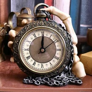 Unique Skull Clock About Time Nemesis Now Gothic Skeleton Pocket Watch Clock UK