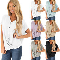 Women Summer Casual Batwing Sleeve V Neck Twist Tops Loose Blouse Baggy Shirt