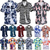 Mens Short Sleeve Hawaiian T Shirts Button Down Summer Beach Holiday Casual Tops