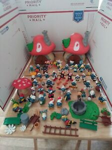 Vintage Lot Of Smurfs PVC Figures Houses And Accessories good condition original