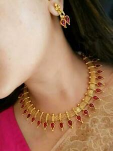Indian Choker Necklace Set Bollywood Bridal Earrings Red Gold Plated Fashion