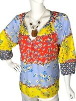 Fig and Flower Large (L) Floral Mixed Print Women's Top Blouse