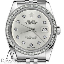 Womens Rolex 36mm Datejust Silver Color Dial with 10 Round Diamond Watch