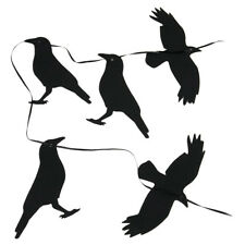 New 5 Pack Halloween Raven Silhouettes with String to Hang Glitter Birds