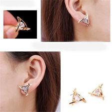 Women Triangle Crystal Rhinestone Ear Stud Gold Silver Diamond Earrings Gifts