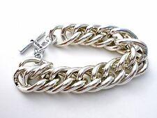 "Vintage Statement Link Bracelet Silver Tone 8.25"" Long Large Chunky Jewelry"