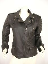 SMUKFEST BLACK SHEEP LEATHER ZIP FRONT LONG SLEEVE MOTORCYCLE JACKET WOMEN'S 40