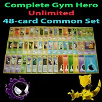 PL/LP (Unlimited) COMPLETE Pokemon GYM HEROES 48-Card COMMON Set Trainer Energy