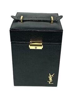 Authentic YVES SAINT LAURENT Gold Logo Vanity Box Black Gold Leather Rank AB+