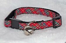 Red Plaid Designer Cat Collar Safety Breakaway Cute Christmas Kitty Small Cute!