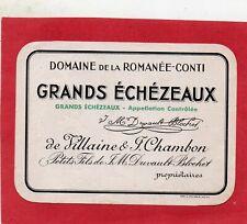 GRANDS ECHEZEAUX ETIQUETTE DOMAINE DE LA ROMANEE CONTI AVANT 1942     §02/12/19§