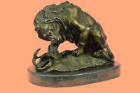 Hot Cast Bronze Sculpture Lion vs Snake Serpent Statue Decor Gift Figurine DEAL