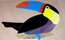 STAINED GLASS hand pre cut MOSAIC Inlay tile,stepping stone,tropical bird TOUCAN