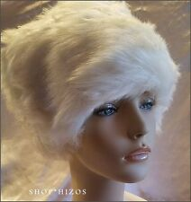WHITE CREAM FAUX FUR RUSSIAN COSSACK LINED CAP HAT NEW OSFA