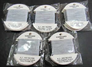 15xNeedlepoint/Embroidery THREAD WILTEX Vineyard Jewels metallic-Silver-VS187