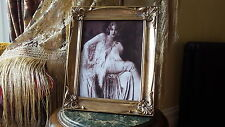 Vintage Art Deco Nude French Boudoir LADY PIANO Châle or Photo Cadre Photo
