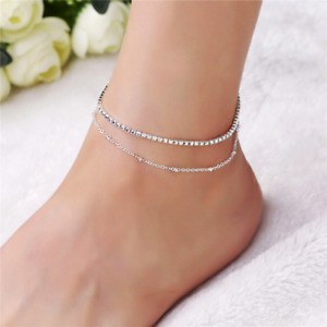 Silver Anklet Chain Bracelet  Rows Ankle Stretchy Diamante Rhinestones UK