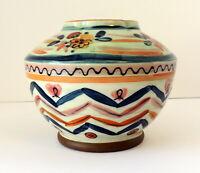 """Southwestern Floral Painted Pot Glazed Jar Vase Striped 4"""" High"""