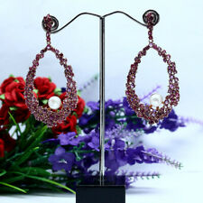 NATURAL HEATED PINK RUBY & WHITE PEARL LONG EARRINGS 925 STERLING SILVER