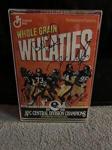 1992 Wheaties Box Pittsburgh Steelers AFC Champions Auto JSA Cowher Hoge Lloyd