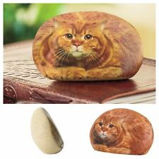 Office Desk Paperweight Small Cat Tabby Rock Design Paper Weight
