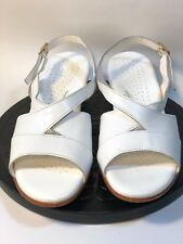 SAS Caress Sandals Size 9.5 N White Leather Slingback Wedge Heel Comfort Shoes