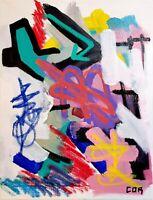 CORBELLIC ART ACRYLIC, LARGE 14X11 ORIGINAL, ABSTRACT ART, GALLERY ART ACRYLIC