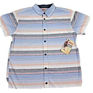 Button Down Shirt Wrangler Boys Size XL 14/16 Short Sleeve Blue White Striped