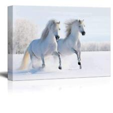 "Two Galloping White Welsh Ponies Horses on Snow Field - CVS - 32"" x 48"""