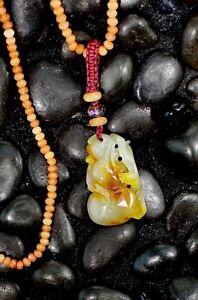 """Red Jade Pendant Hand Carved Natural Tranlucent Jadeite 20"""" Length Gem Necklace"""