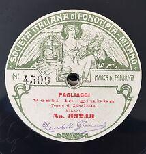"""RARE 78RPM 11"""" FONOTIPIA TENORE ZENATELLO VESTI LA GIUBBA PAGLIACCI / IMPROVVISO"""
