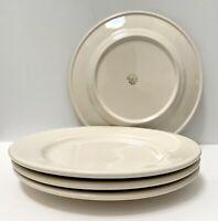 4 x Vtg Buffalo China Dinner Plates Off White Restaurant Ware Farmhouse Diner