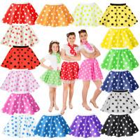 Kids Child 12 inch POLKA DOT ROCK N ROLL Skirt 50s FANCY DRESS COSTUME
