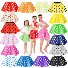 Kids Child 12 inch POLKA DOT ROCK N ROLL Skirt 50s FANCY DRESS COSTUME