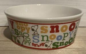 "Peanuts Classic Snoopy Pet Dog Food Water Bowl Stoneware 5"" Diameter NEW"