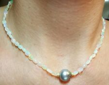 Ethiopian fire opal nugget Gray Tahitian pearl solid gold 14k necklace