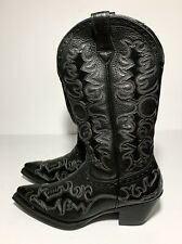 "ARIAT DANDY 12"" DEERTAN FASHION BLACK WESTERN LEATHER COWBOY BOOT 6B 10010263"