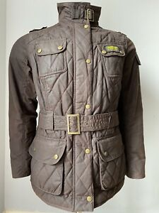 Barbour Quilted Internation Waxed Womens Jacket Size 16 Brown