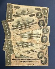 1864 CIVIL WAR CONFEDERATE MONEY $20.00 TWENTY DOLLAR NOTE BILL RICHMOND VA