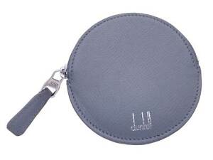Auth dunhill Logo Round Coin Change Purse Blue Gray Leather/Silvertone - e47880a