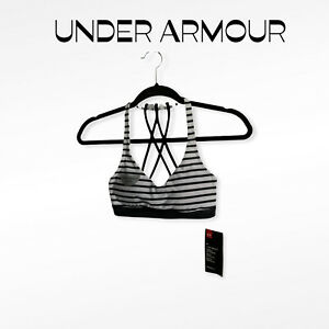 NWT UNDER ARMOUR Striped Crisscross Back Low-Impact Sports Bra Women Size XS