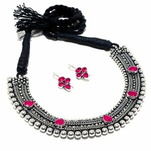 Bollywood Women Fashion Tribal Silver Oxidized Pink Stone Choker Necklace Set