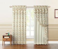 Double Layer Beige and Gold Embroidered Window Curtain Panel: Attached Valance
