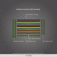 01348 World Champion Stripes Bands - Bicycle Decals Stickers - Black Edges