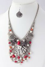 D6 Red Silver Pearl Crystal Starfish Ocean Seashell Charm Necklace Set