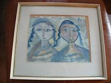 Vintage 1960's early Shlomo Shwartz (schwartz) original painting, Israel art