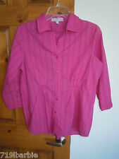 Foxcroft Fitted women's 3/4 sleeve button-down casual shirt blouse top size 6