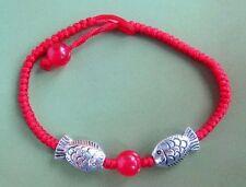 Red Jade Beads Bracelet Alloy Metal Happy Lucky Fish