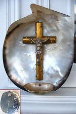 ancien crucifix bénitier coquillage souvenir de voyage Le Pouliguen 1900