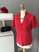 Precis Size L (UK 14) Red Short Sleeved Top With Stretch